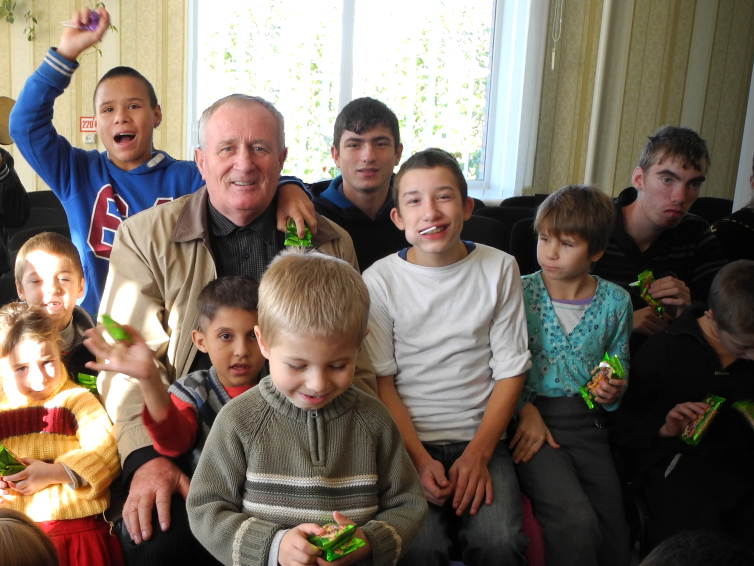 Viktor with a Group of Orphans